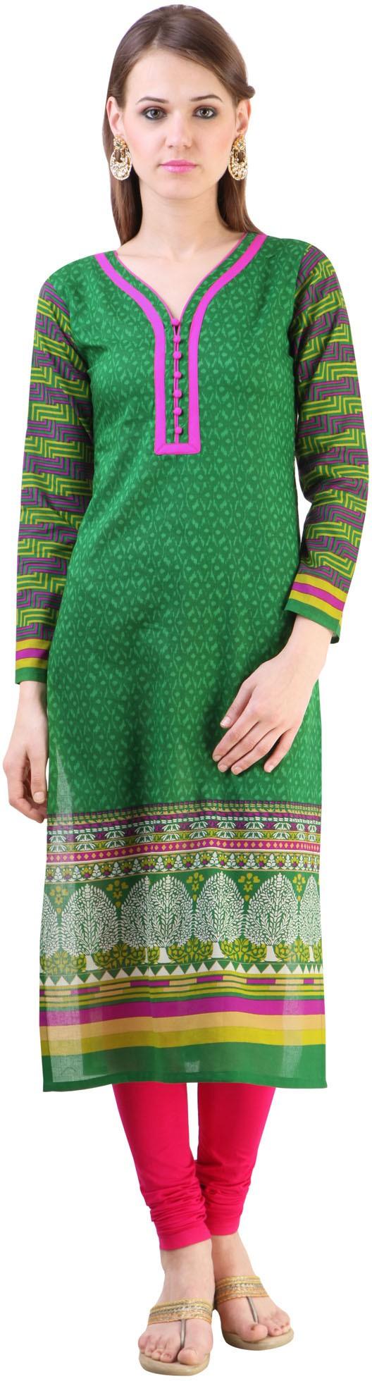 Libas Printed Womens Straight Kurta(Green)