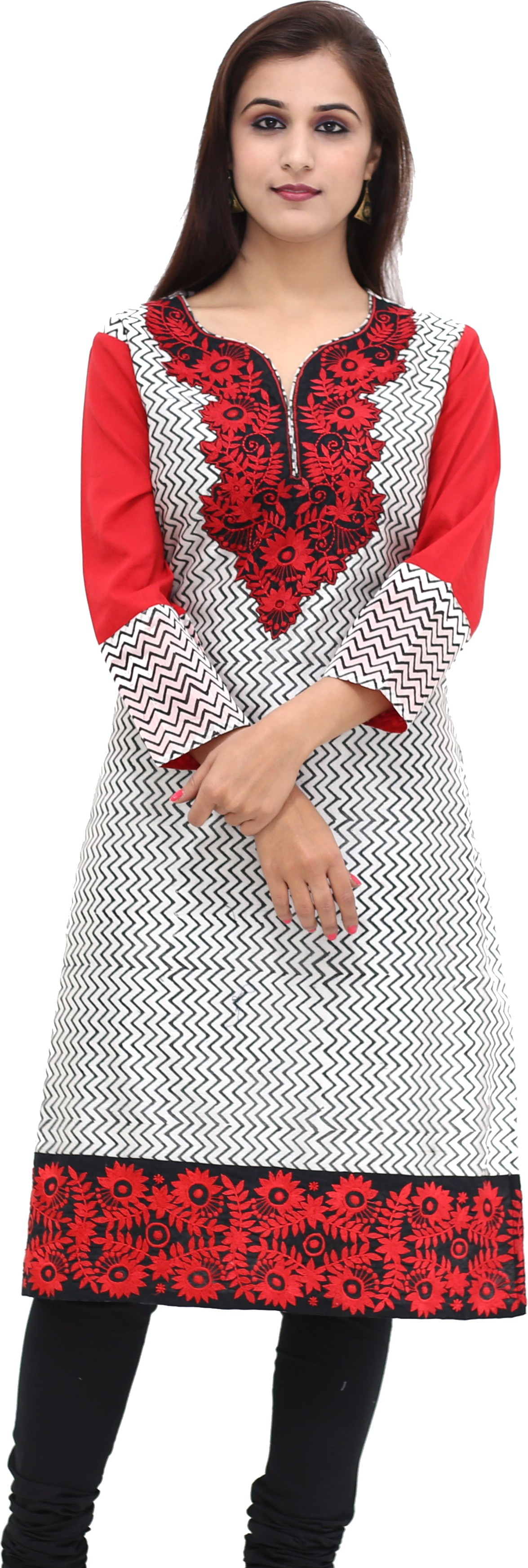 Missprint Embroidered Womens Straight Kurta(Red, White)