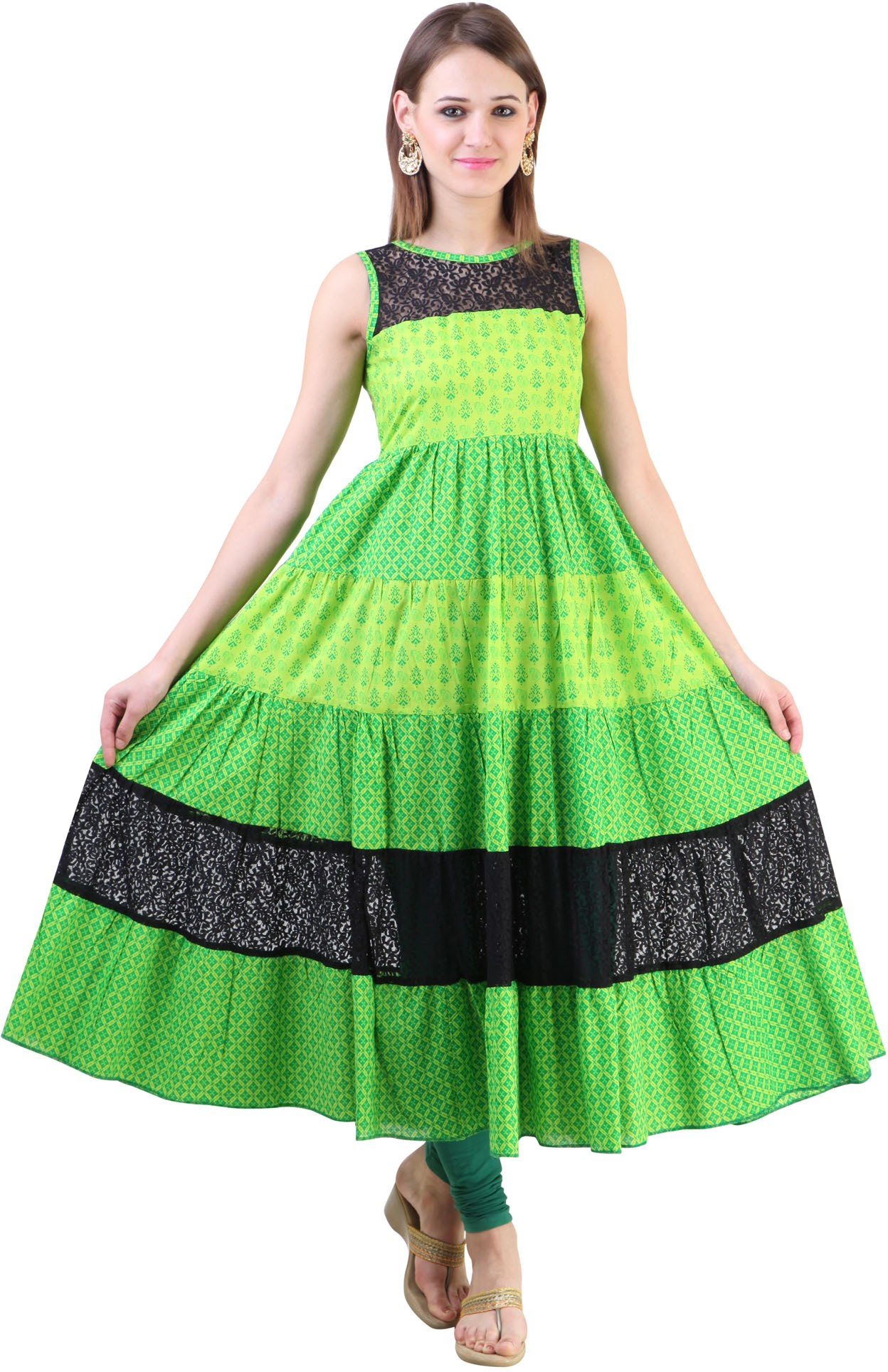Libas Printed Womens Anarkali Kurta(Green)