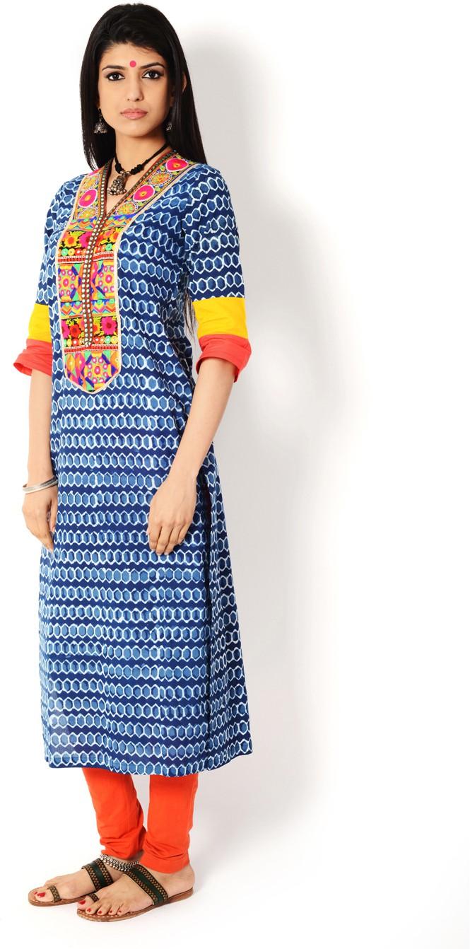 Aana Printed Womens A-line Kurta(Blue)