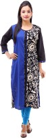Kyaara Printed Women's Straight Kurta(Blue)