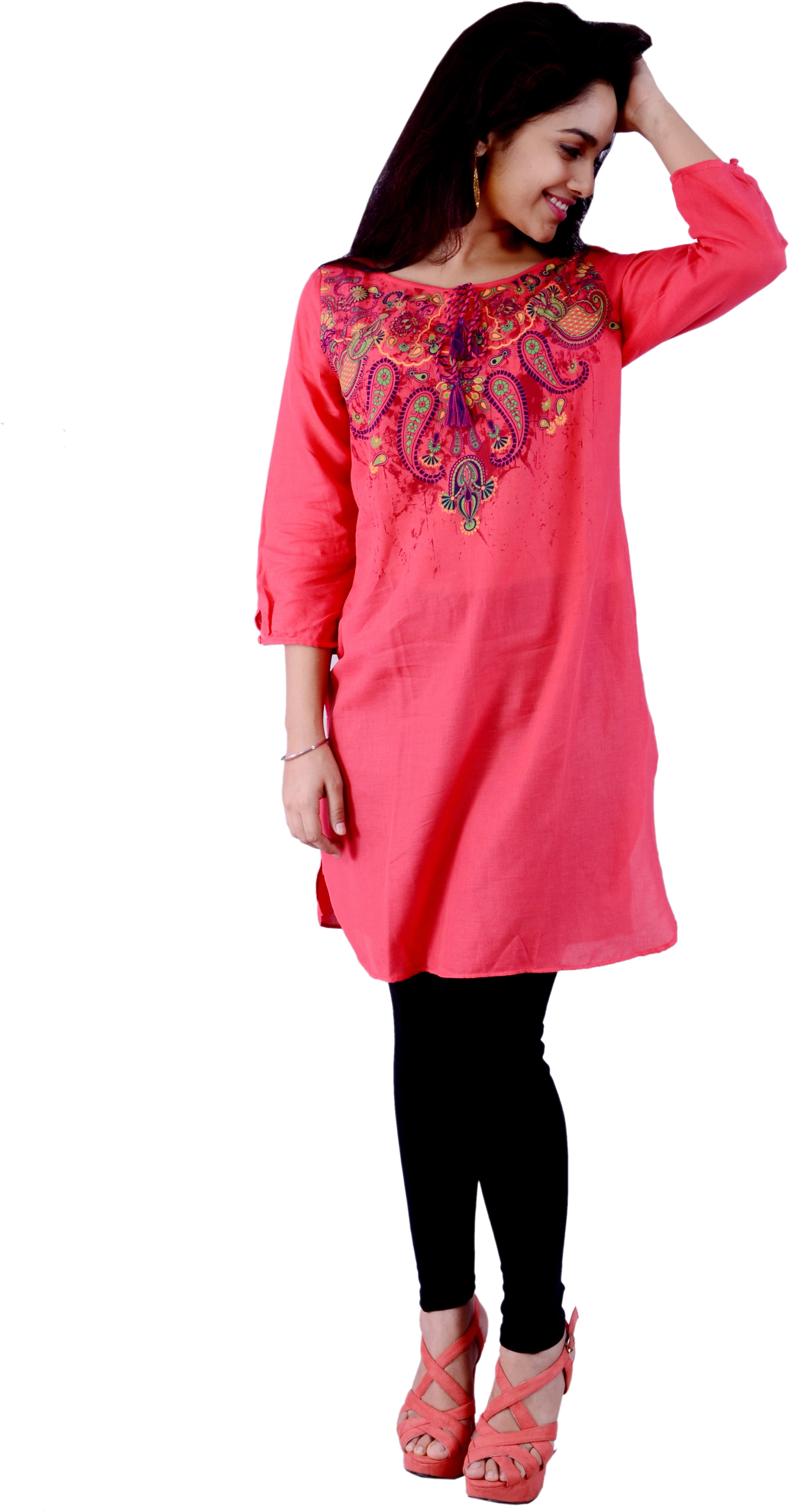 Pure Nautanki Printed Womens A-line Kurta(Red)