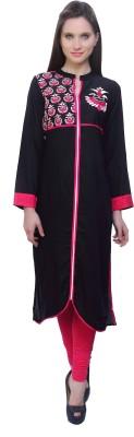 Kurtis By Menika Embroidered Women's Straight Kurta(Pink, Black)