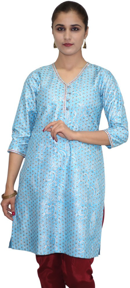 Missprint Printed Womens Straight Kurta(Blue)