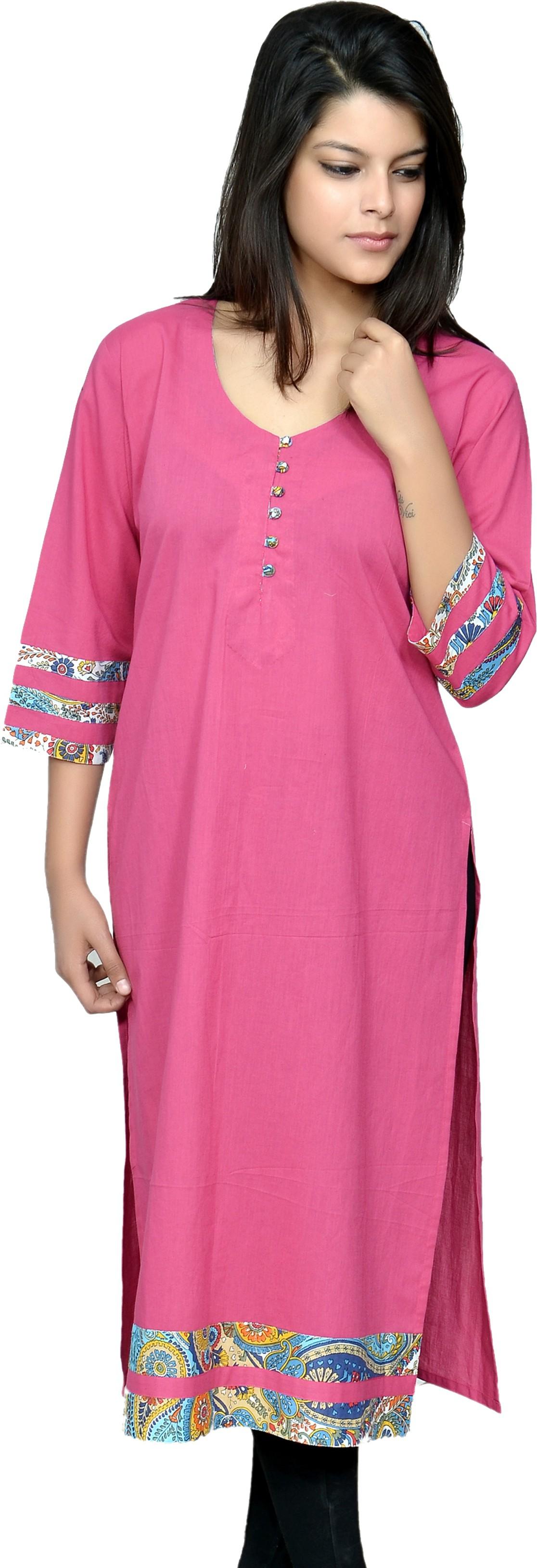 Chitrambara Printed Womens Straight Kurta(Pink)
