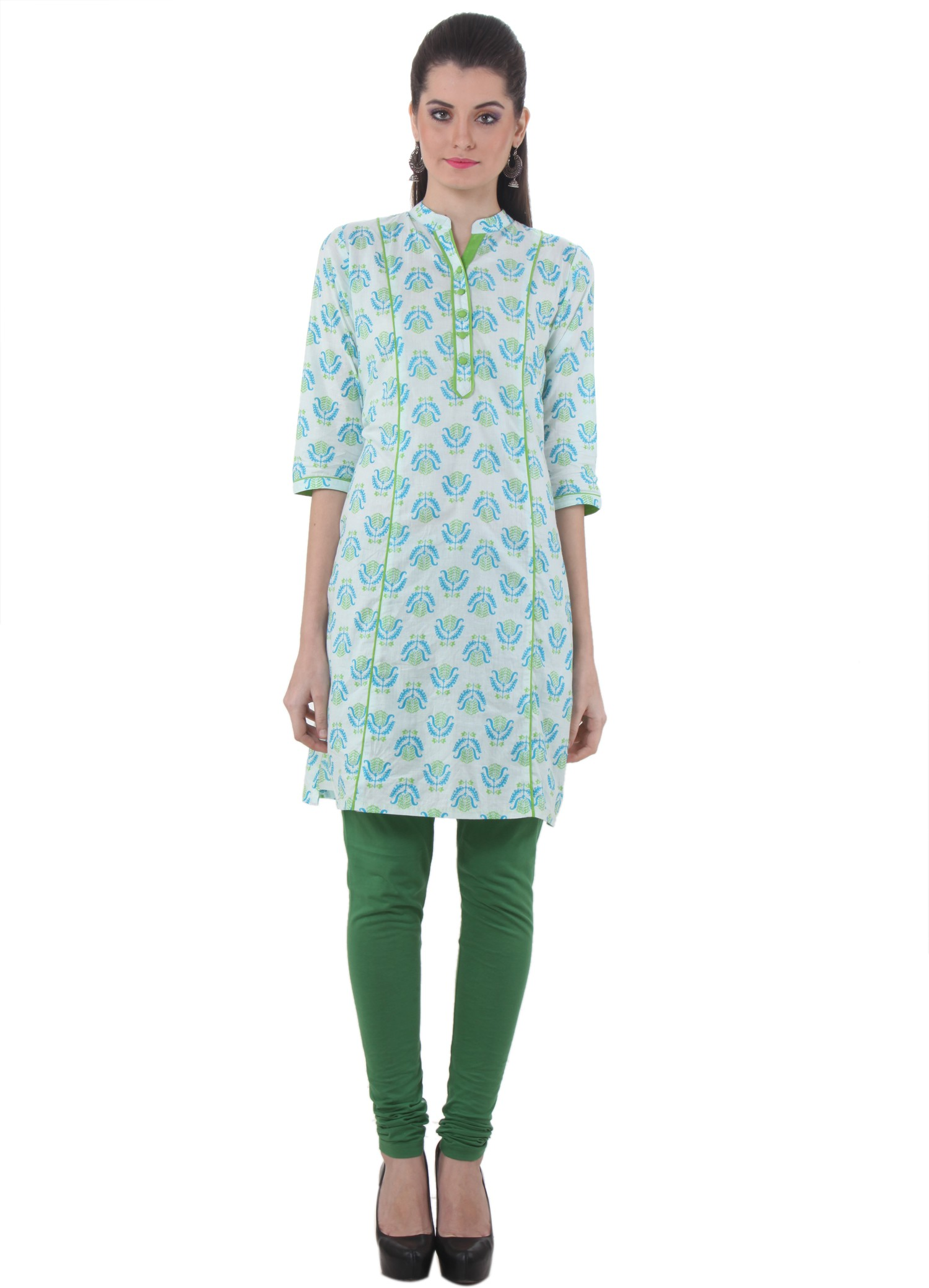 Piaa Printed Womens Straight Kurta(Green, White)