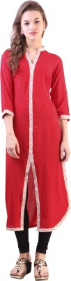 Libas Solid Women's Frontslit Kurta(Red) at flipkart