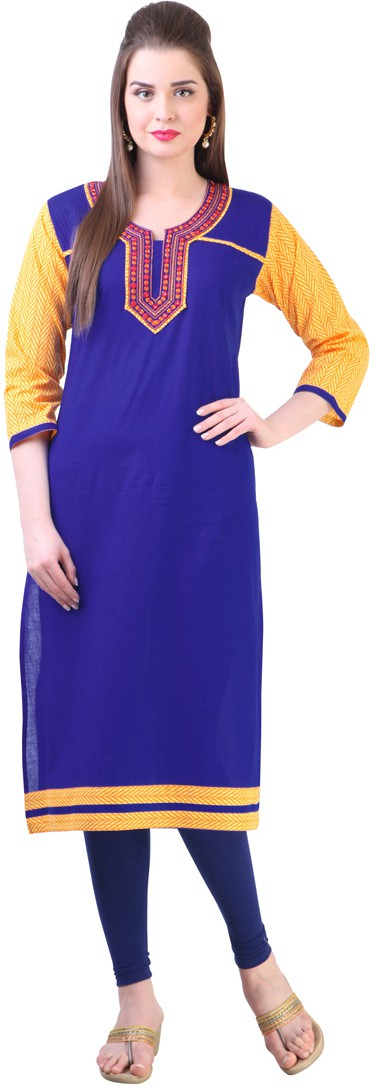Libas Self Design Womens Straight Kurta(Blue)