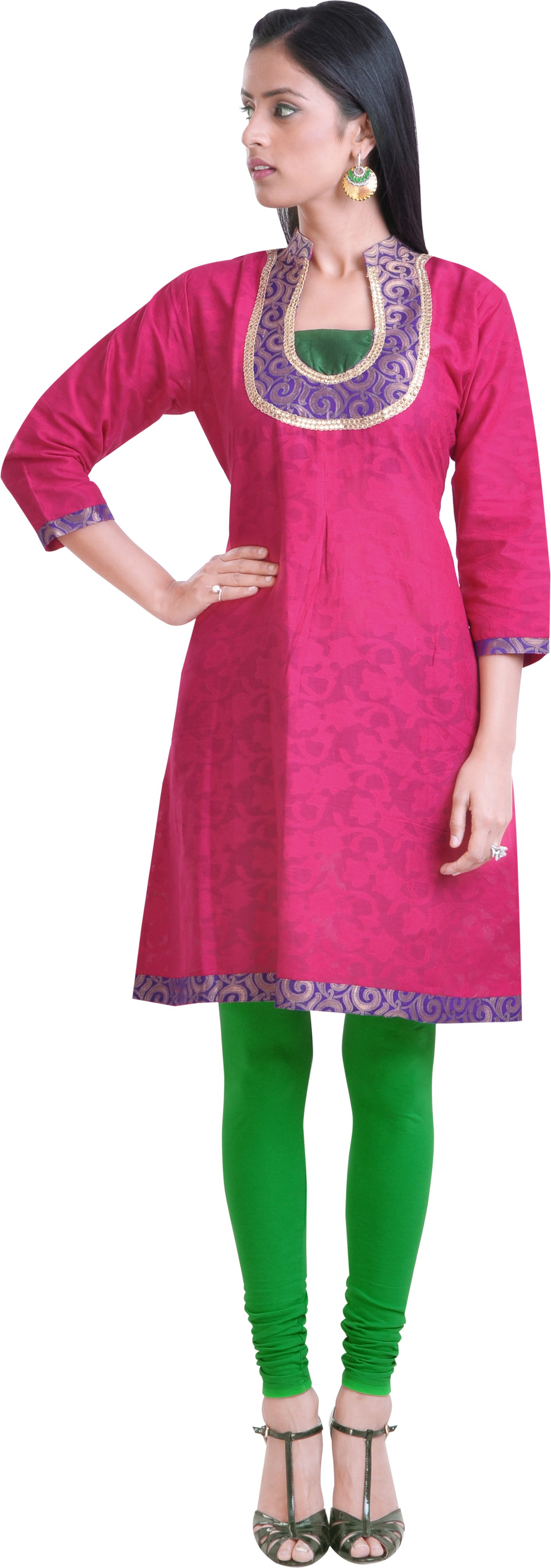 Libas Self Design Womens A-line Kurta(Pink)