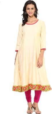 Indibox Embroidered Women's Anarkali Kurta(Gold) at flipkart