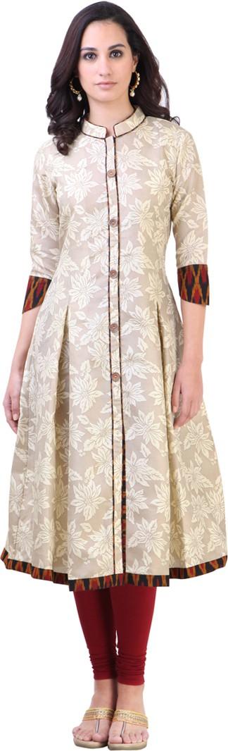 Libas Printed Womens Anarkali Kurta(Beige)