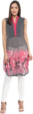 Libas Printed Women's Straight Kurta(Black) at flipkart