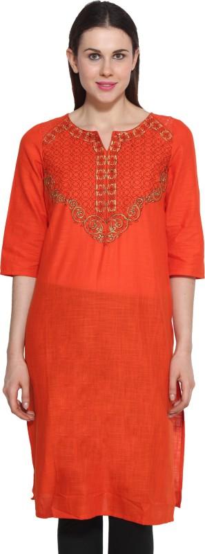 Aurelia Self Design Women's Straight Kurta(Orange)