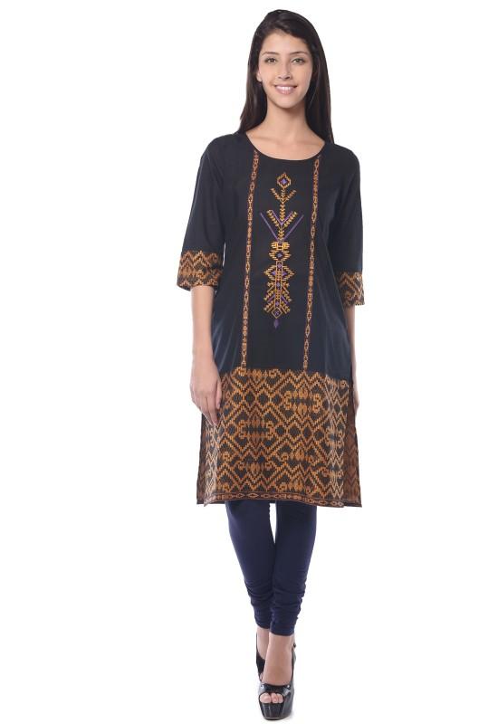 Aurelia Embroidered Women's Straight Kurta(Black)