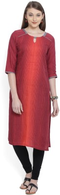 Aurelia Printed Women's Straight Kurta(Orange, Maroon) at flipkart