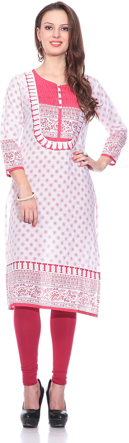 Sringam Printed Womens Straight Kurta(White, Red)