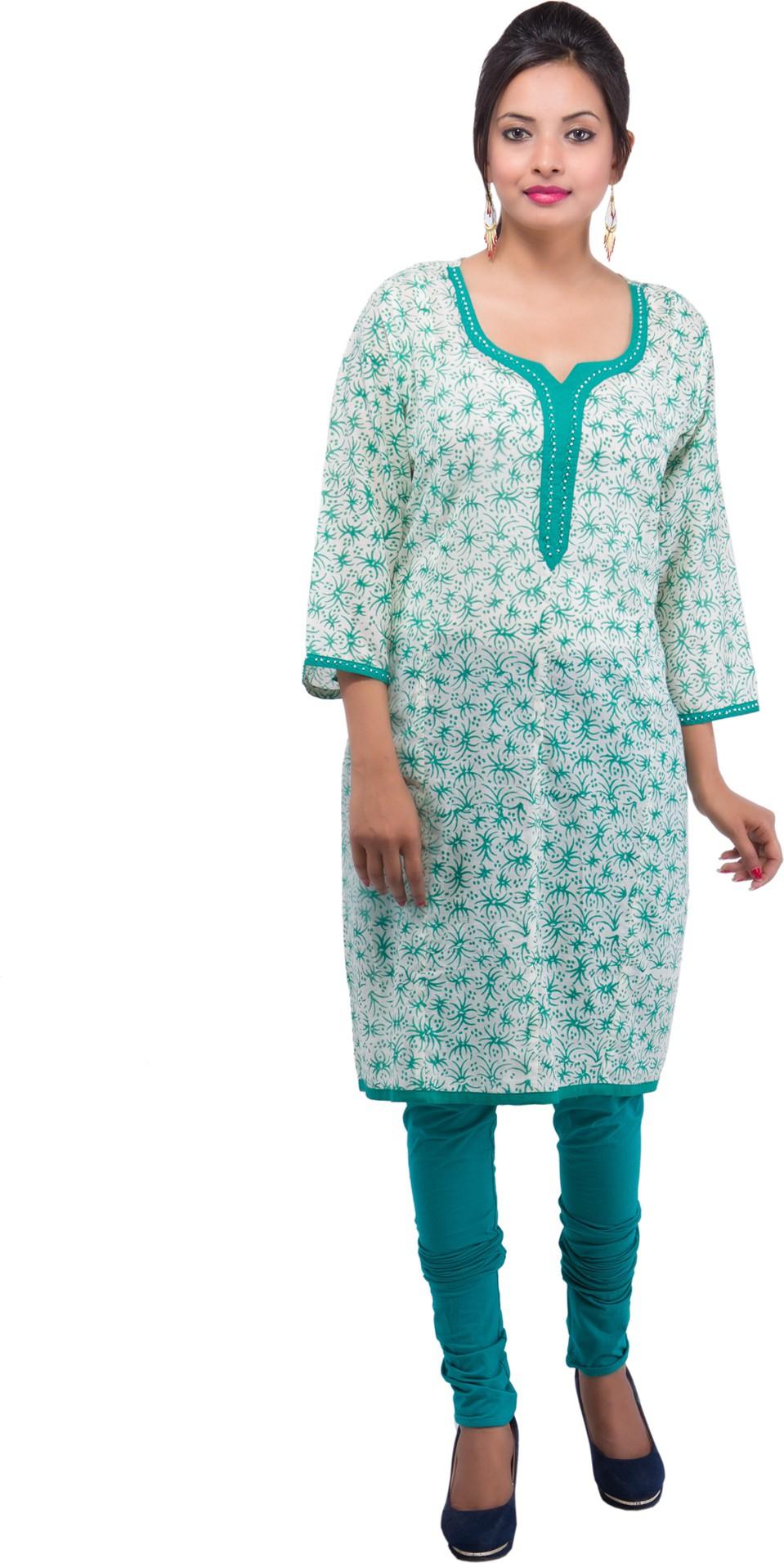 Damyantii Printed Womens Straight Kurta(Beige, Blue)