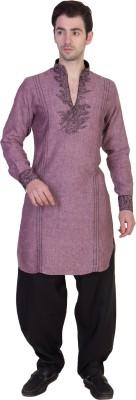 Desam Solid, Embroidered Men's Pathani Kurta