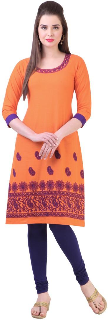 Libas Printed Womens Straight Kurta(Orange)