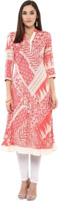 Darzaania Printed Women Flared Kurta(Pink)