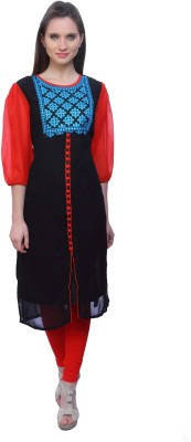 Kurtis By Menika Embroidered Women's Straight Kurta(Black, Blue)