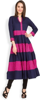 Vishudh Casual Solid Women's Kurti(Dark Blue) at flipkart