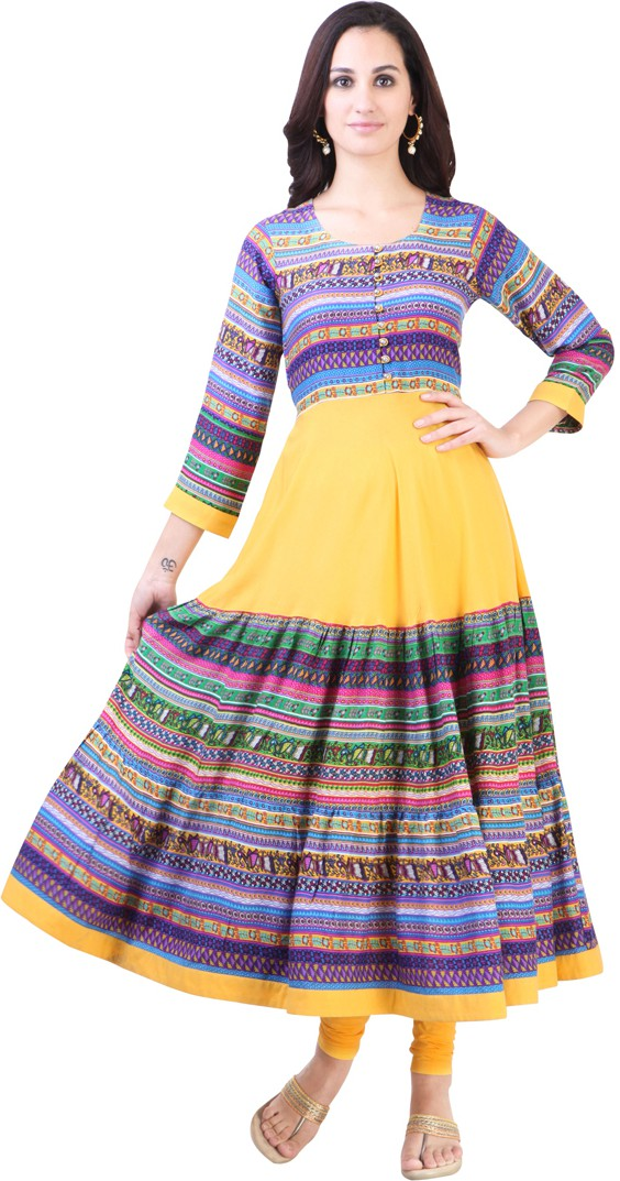 Libas Printed Womens Anarkali Kurta(Yellow)