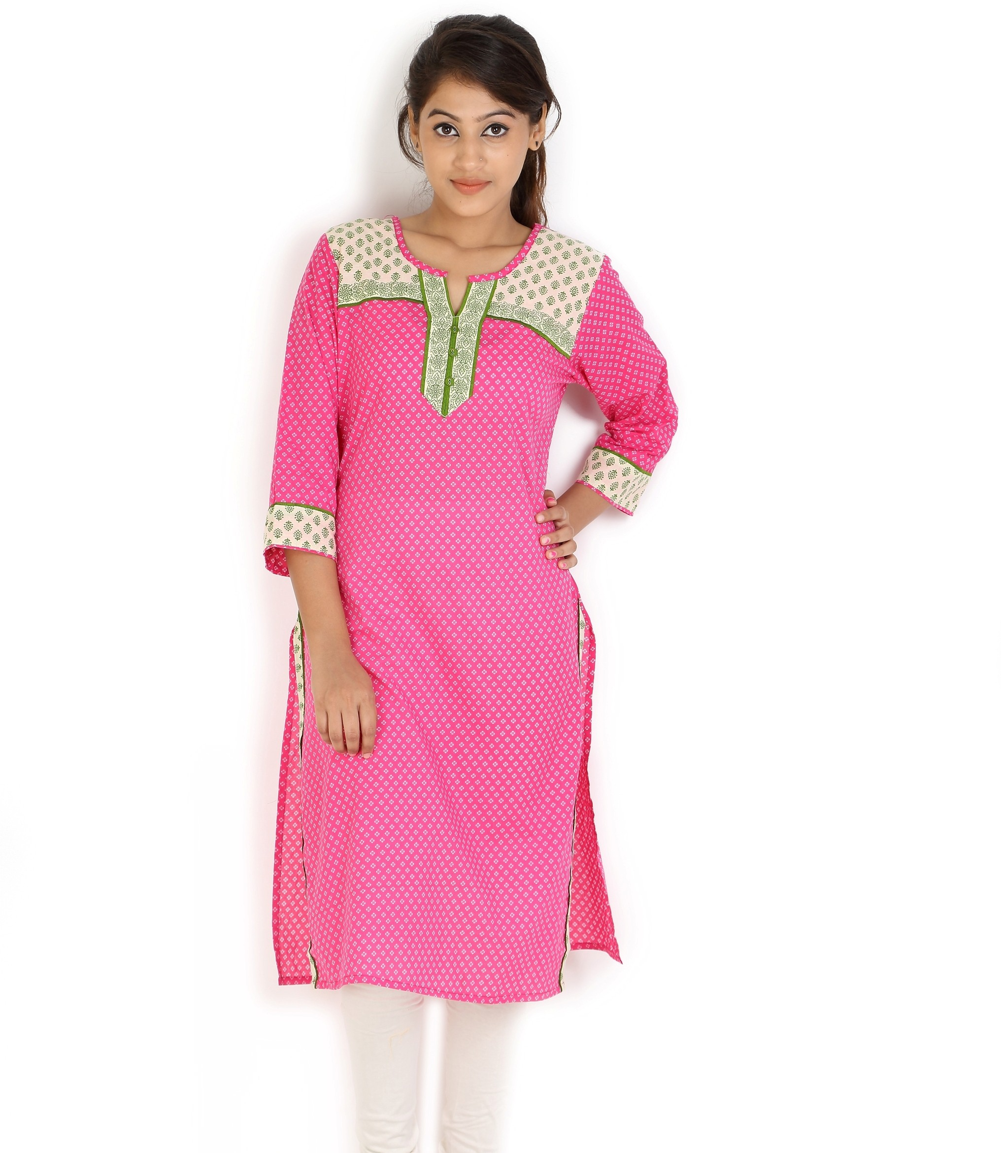 Angel TF Creations Polka Print Womens A-line Kurta(Pink)