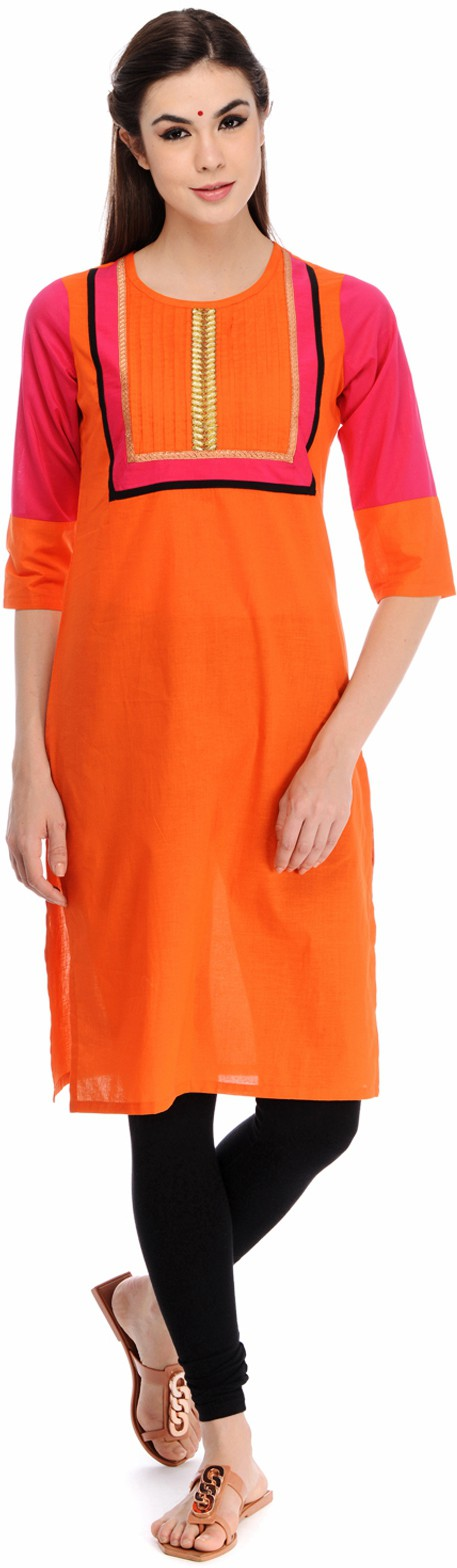 Taaga Solid Womens Straight Kurta(Orange)