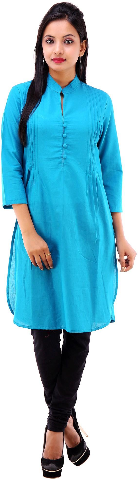 Shubh Solid Womens Straight Kurta(Blue)