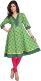 Enah Printed Women's Anarkali Kurta (Gre...