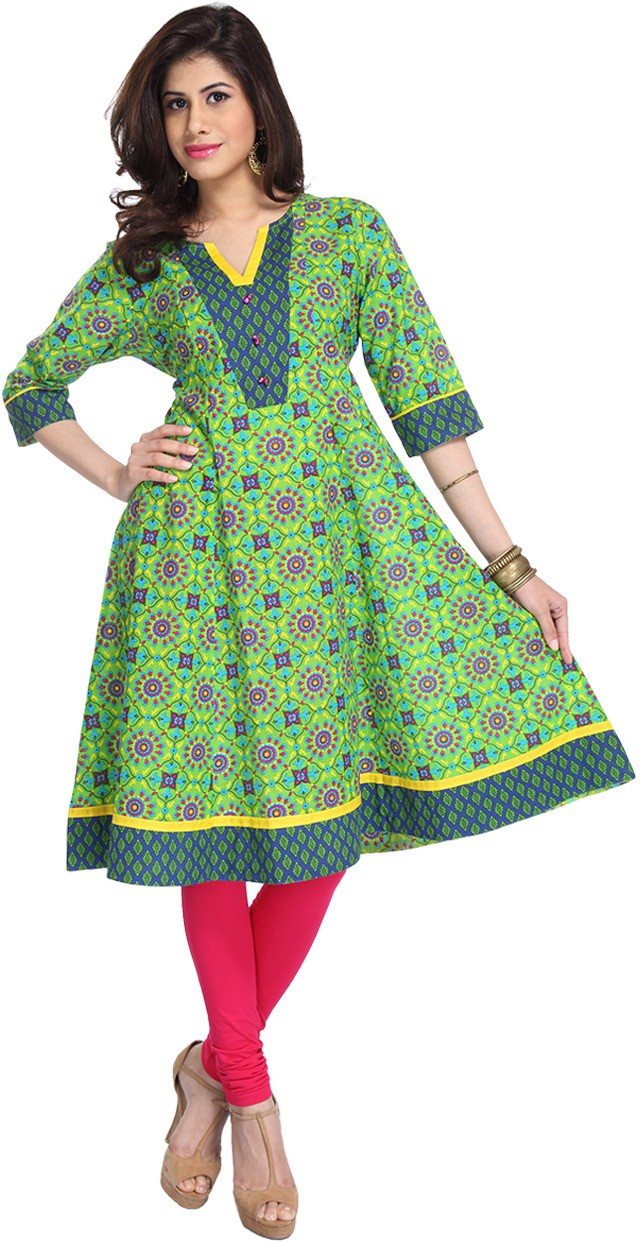 Enah Printed Womens Anarkali Kurta(Green)
