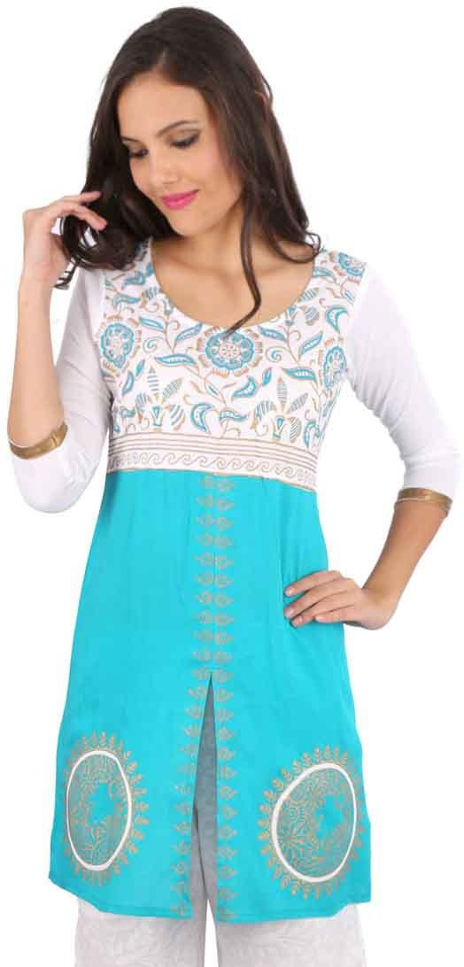 Peppertree Printed Womens Straight Kurta(Green)