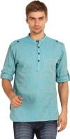 Svanik Solid Mens Straight Kurta(Blue)