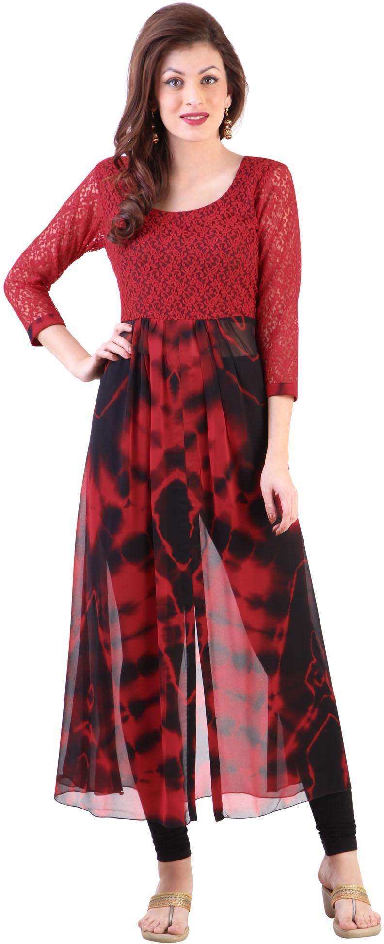 Libas Printed Womens Straight Kurta(Red)