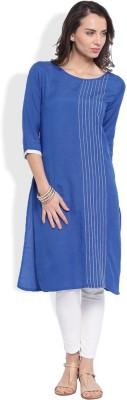 Anouk Solid Women's Straight Kurta(Blue) at flipkart
