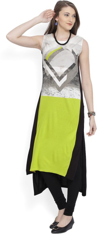 W Solid Women's Straight Kurta(White, Black, Green)