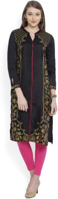 Aurelia Printed Women's Straight Kurta(Black) at flipkart