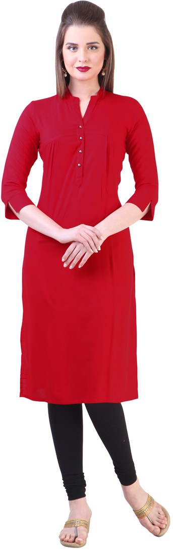 Libas Self Design Womens Straight Kurta(Red)