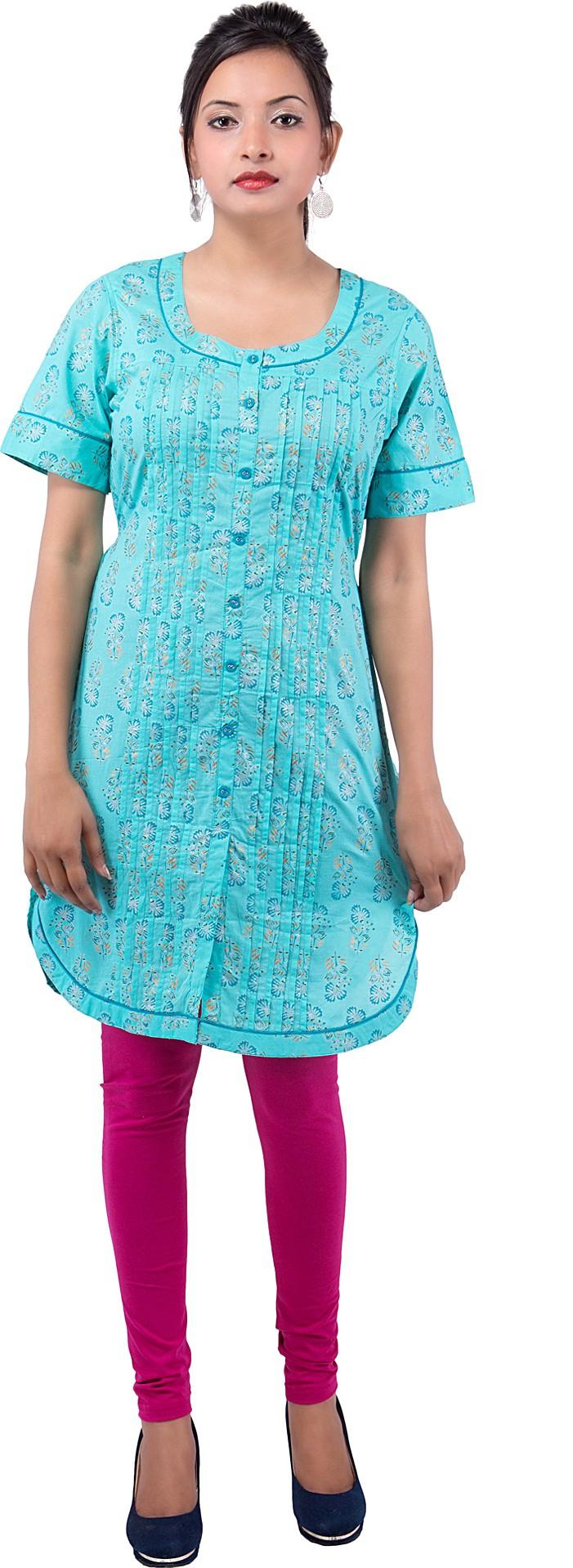 Ishwar Womens Wear Floral Print Womens Straight Kurta(Blue)