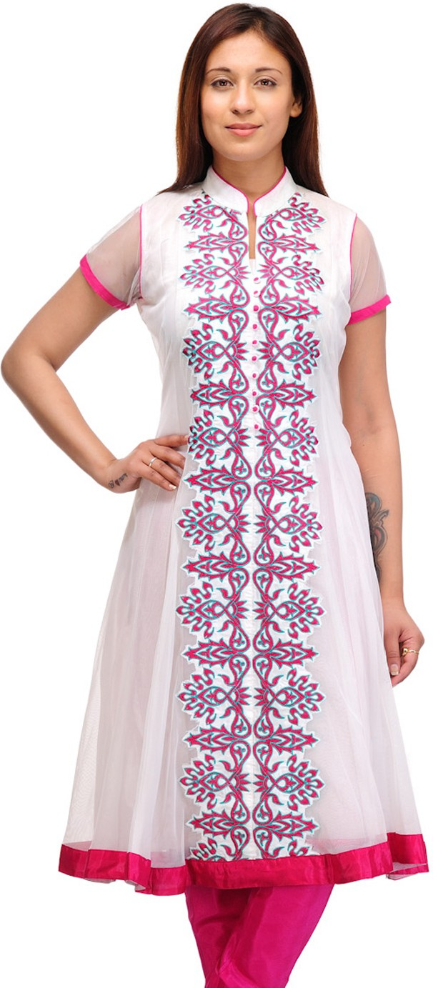 Belle Solid, Embroidered Womens Anarkali Kurta(White, Pink)
