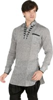 New Looks Solid Mens Pathani Kurta(Grey)