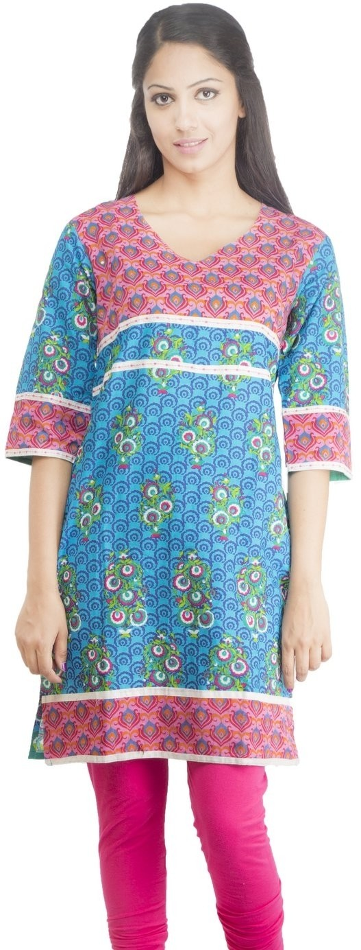 Rama Floral Print Womens Straight Kurta(Multicolor)