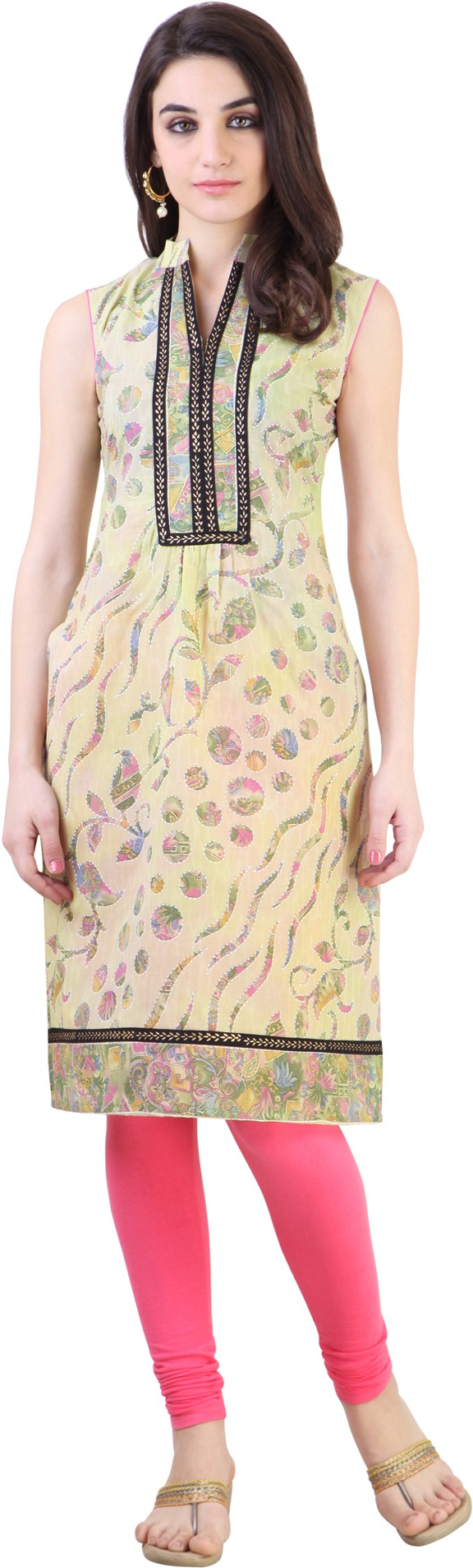 Libas Floral Print Womens Straight Kurta(Multicolor)
