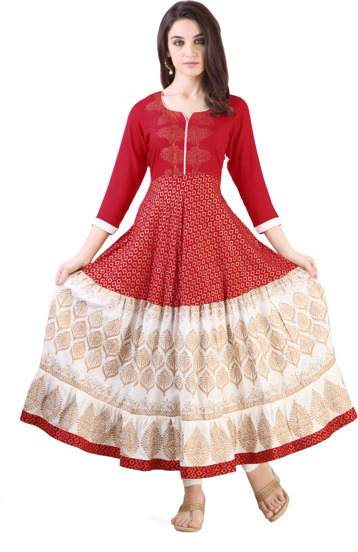 Libas Printed Womens Anarkali Kurta(Red)