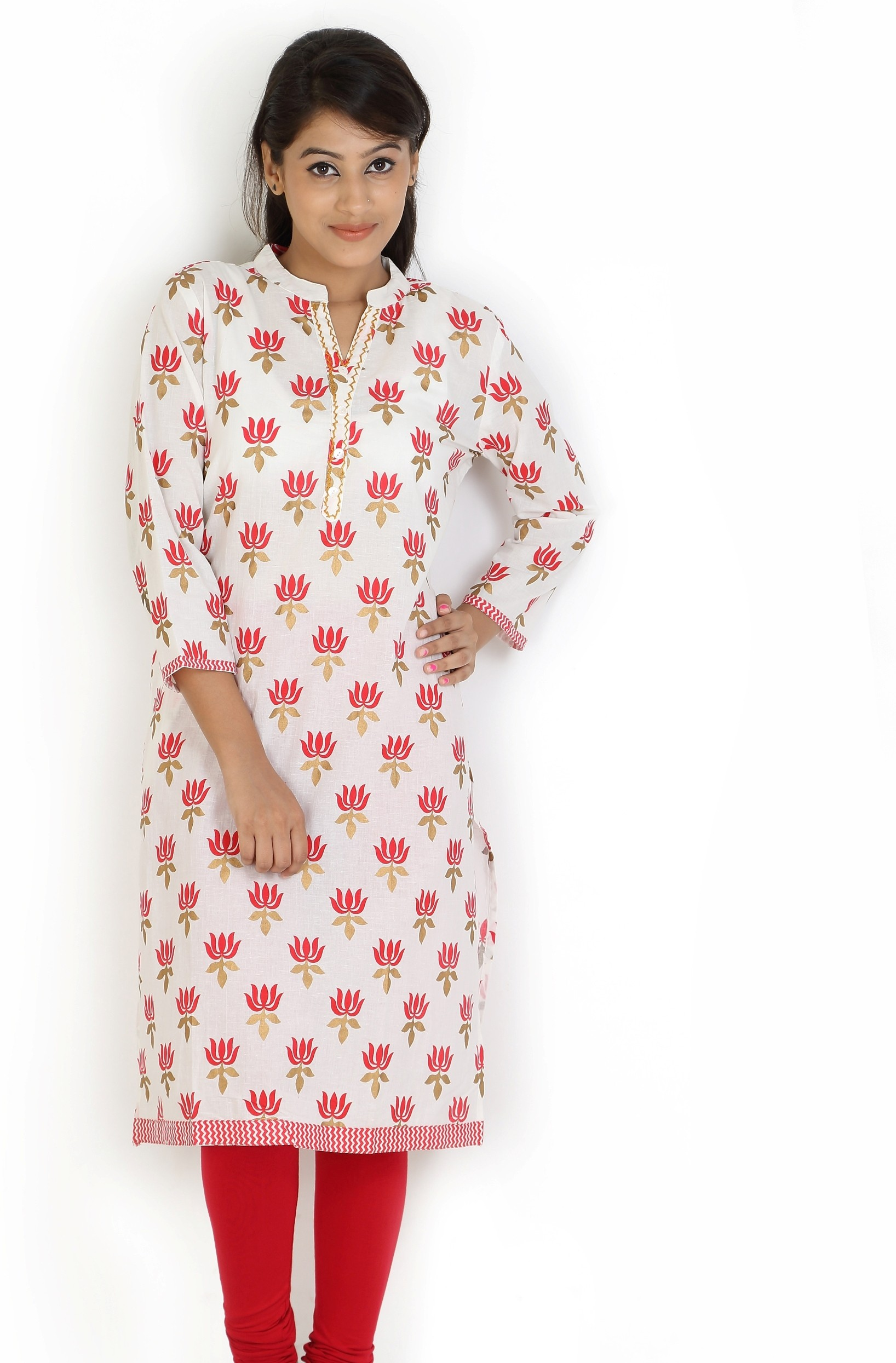 Angel TF Creations Floral Print Womens A-line Kurta(White, Red)