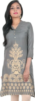 Estyle Printed Women's A-line Kurta(Grey) at flipkart