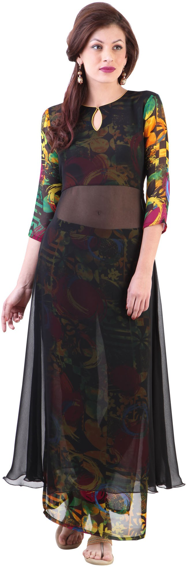 Libas Printed Womens A-line Kurta(Black)