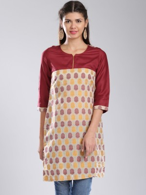 Anouk Printed Women's Straight Kurta(Beige) at flipkart