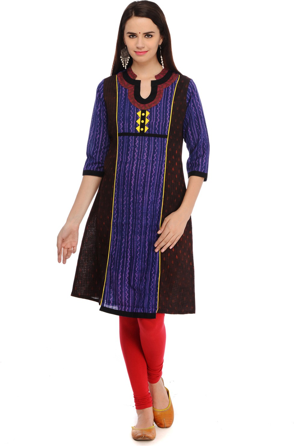 Taaga Printed Womens Straight Kurta(Black)
